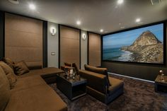 Pleasant Double Tier Room Style Home Theater Los Angeles CA - Pleasant theater in lighter, earthen colors