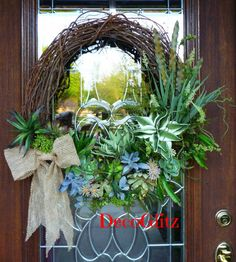 SUCCULENT Grapevine Wreath with a BURLAP BOW by decoglitz on Etsy