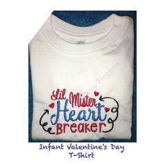 Infant Valentine's Day T-shirt #embroidery #trend #lilmister #valentineday #valentines #infantfashion #kidsfashion #rabbitskintshirt #quality #yesbbb #heartbreaker #kidsclothing #cynthiascraftsinvirginia by cynthiascraftsinvirginia
