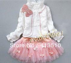 girls lace suit kids flower coat + long sleeve dress clothing set children spring autumn fashion sweet garment baby casual wear $88.19