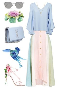 """! *"" by okayyes ❤ liked on Polyvore featuring Peter Pilotto, Dondup, Dolce&Gabbana, Yves Saint Laurent, Linda Farrow, Tiffany & Co., Kale and Swarovski"