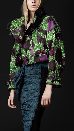 african style prints from burberry prorsum with crafty crocheted raffia work