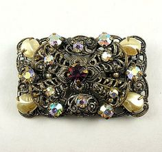 Lovely filigree antiqued gold tone brooch baroque imitation pearls rhinestone colors