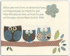 Nursery art for Owl nursery bedding Baby room art by DesignByMaya