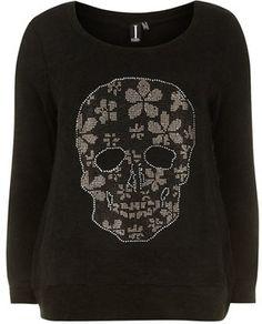 Black skull print jumper on shopstyle.com