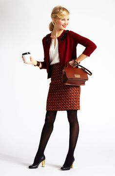 Chic Professional Woman Work Outfit. Fall Business Look, Kate Spade outfit.