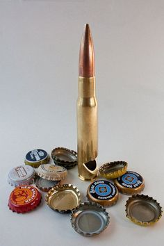 """""""50 Caliber Bullet Bottle Opener."""" 50 Caliber Browning Machine Gun fired bullet components make up a very unique bottle opener. A portion of all proceeds go to support Veteran Non-Profit Organizations. Find it at www.dogoodbuyus.us"""