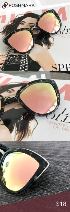 ▫️NEW▫️CATEYE PINK MIRROR LENS SUNGLASSES Pink Mirror lens Black/white print frame.silver trim Approximate Measurements: -Full Width 6in -Side bar 5.5in -Individual lens: --2.5in W x 2.25in L  ALL PICTURES TAKEN EXCLUSIVELY FOR STYLE LINK MIAMI AND SHOWING ACTUAL PRODUCTS. PRICE FIRM. Style Link Miami Accessories Sunglasses