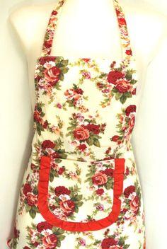 Red Flower Print Women Full KITCHEN APRON~Halter~Ruffle~Rockabilly~Retro Look #Homlz