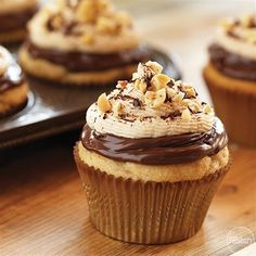 Chocolate Hazelnut and Peanut Butter Cupcakes from Pillsbury because some flavors just pair perfectly together, like chocolate and peanut butter!