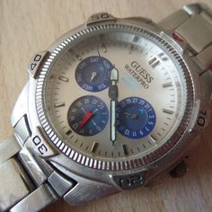 Retro GUESS WATERPRO day/date/month chronograph, 50M/165ft Water Resistant, divers bezel - Guaranteed Genuine, rare gents quartz wristwatch by EWcoLondon on Etsy