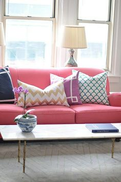 For the Home. Dress up a couch with decorative pillows that are bright and bold.