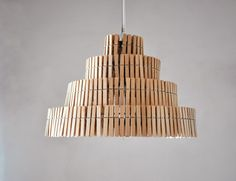 Junkculture: Creative Pendant and Floor Lamps Made from Repurposed Wooden Clothespins