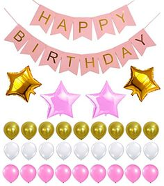 PERFECT HAPPY BIRTHDAY DECORATION SET - Reusable Banner, Latex & Mylar Star Balloons, Gold, Pink & White Theme, Great Party Supplies for Princess, First, 2nd, 3rd, 5th, 7th, Girl, Boy or any Party - http://www.partysuppliesanddecorations.com/perfect-happy-birthday-decoration-set-reusable-banner-latex-mylar-star-balloons-gold-pink-white-theme-great-party-supplies-for-princess-first-2nd-3rd-5th-7th-girl-boy-or-any-p.html