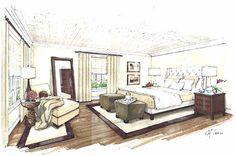 interior design process | Bedroom colored sketch concept