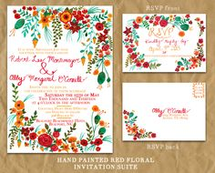 Hand Painted Red Floral Wedding Invitation
