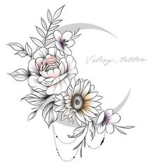 No photo description available. Tattoos Skull, Rose Tattoos, Flower Tattoos, Body Art Tattoos, Tribal Tattoos, Girl Tattoos, Sleeve Tattoos, Moon Tattoo Designs, Flower Tattoo Designs