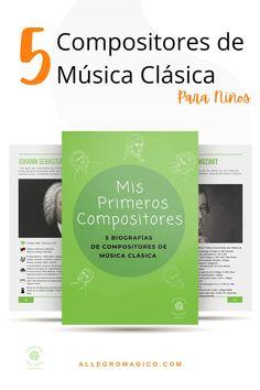 Descarga gratis nuestra guía sobre 5 biografías de compositores de música clásica para niños: claras, resumidas y con sugerencias musicales. Orchestra, Instruments, Musicals, Teachers