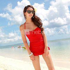 Red Gathered Women's Swimwear Dress