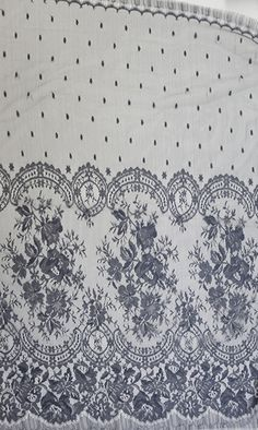 Charleston 90 etain, $211.00 Pewter colored Chantilly lace with a floral retro design.