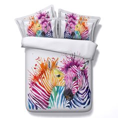 Find More Bedding Sets Information about Colorful Zebra Couple Print 4 Piece Duvet Cover sets Zebra Bedding sets Bedspreads Flat Sheets Bed linen Twin Queen Super king,High Quality linen bag,China bed linen embroidery Suppliers, Cheap linen flower from Fashion Bedding Store on Aliexpress.com