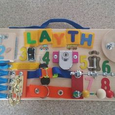 travel idea for toddlers Personalized Busy Board Wooden Toy Childrens Activity Toy Travel Toys For Toddlers, Busy Boards For Toddlers, Toddler Travel, Games For Kids, The Doors, Ems, 2nd Birthday Gifts, Sensory Games, Montessori Practical Life