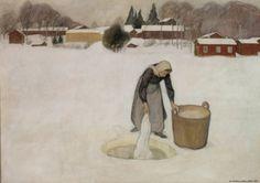 """Pekka Halonen  """"Washing on the Ice"""" (1900)"""