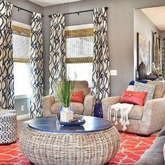 I love the gray walls, with the bright white/geometric curtains Coral Living Rooms, Geometric Curtains, Curtain Patterns, Grey Walls, Home Decor Inspiration, Primary Colors, House, Blinds, Kitchens