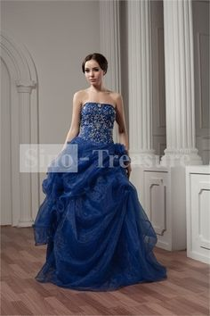 Blue Satin Strapless Beading/Taffeta Sleeveless A-Line Prom Dress -Wedding  2013 prom gowns  #popular prom gowns