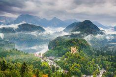 the Bavarian Alps with Hohenschwangau, Germany.
