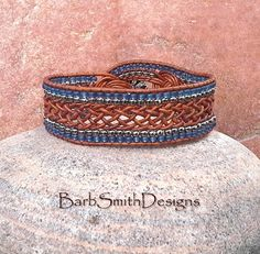 Blue Silver Brown Leather Beaded Wrap Cuff by BarbSmithDesigns