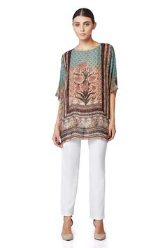 A beautiful, long, digital printed top with three quarter sleeves in georgette.INR 6,990.00