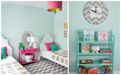 Loving the colors in this super cute twin girls bedroom :) for avery's room!
