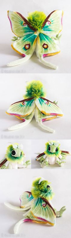 "This is a custom moth doll based loosely on a luna moth (not for sale)! It measures about 5"" tall, it's wings are 9"" wide and about 8"" long (including the tails). They have ..."