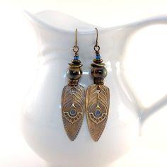 Brass Feather Earrings  Antique Brass Earrings  by CinLynnBoutique