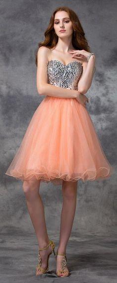 Robe de soirée orange bustier coeur pailleté pour fête d'annviersaire