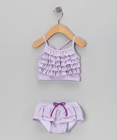 Take a look at this Lavender Ruffle Tankini - Infant & Toddler by RuggedButts & RuffleButts on @zulily today! 40% off until 3/10! It's so cute!