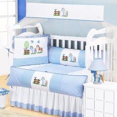 Kit Berço Americano Enxoval Bebê com Mosquiteiro Brilhante Cavalinho Meninos Branco/Azul 1,60m x 1,05m 08 Peças