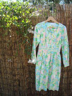 vintage dress // pink and green floral 60s dress by birdiesaid, $35.00