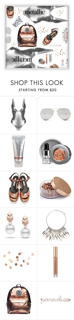 """Metallic paradiso"" by nineseventyseven ❤ liked on Polyvore featuring Topshop, Sunny Rebel, Laura Mercier, Stila, STELLA McCARTNEY, Escalier, John Lewis, Umbra, Kevyn Aucoin and Hype"