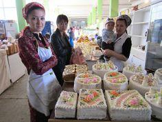 cake sellers at the Bai Bazaar, Dashoguz, Turkmenistan
