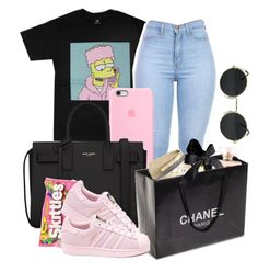 """""""First you get that money then you get that power."""" by youngfashionaddict ❤ liked on Polyvore featuring Yves Saint Laurent, adidas and Chanel"""