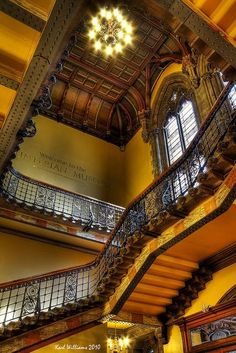 Creating a Human Chain on a Staircase: Hunterian Museum, Glasgow University, Scotland