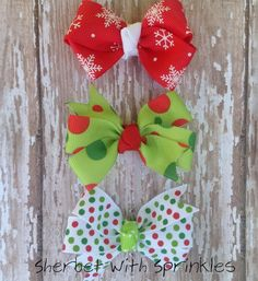 Christmas Hair Bow Set Bitty Bow Hair by sherbetwithsprinkles, $8.75