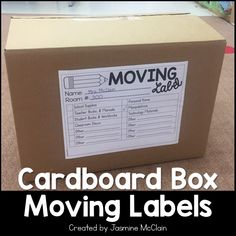 Cardboard Box Moving Labels by Jasmine McClain Classroom Welcome, Classroom Labels, Classroom Supplies, Classroom Setup, Classroom Activities, Teacher Supplies, Teacher Organization, Teacher Hacks, Teacher Stuff