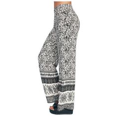 Peace Love & Paisley Wide-Leg Pants ($20) ❤ liked on Polyvore featuring pants, bottoms, white wide leg trousers, white pants, high waisted wide leg trousers, high waisted pants and wide-leg trousers