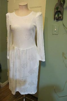 Vintage 70s 80 white floral waffle KNIT jacquard long sleeve sweater DRESS XS/S