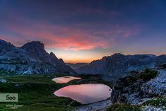 """L'alba ai """"Laghetti ai Piani"""" nel Parco Naturale 3 Cime a due passi dal rifugio Locatelli. Sunrise at """"laghetti ai Piani"""" in Natural Park 3 Cime a short walk from the Rifugio Locatelli."""