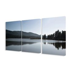 Photographic Mountains and Lake 3 Piece Wrapped Canvas Set | Wayfair