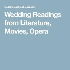 Wedding Readings from Literature, Movies, Opera